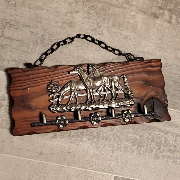 None Other - Wooden Metal Horses Key Hooks